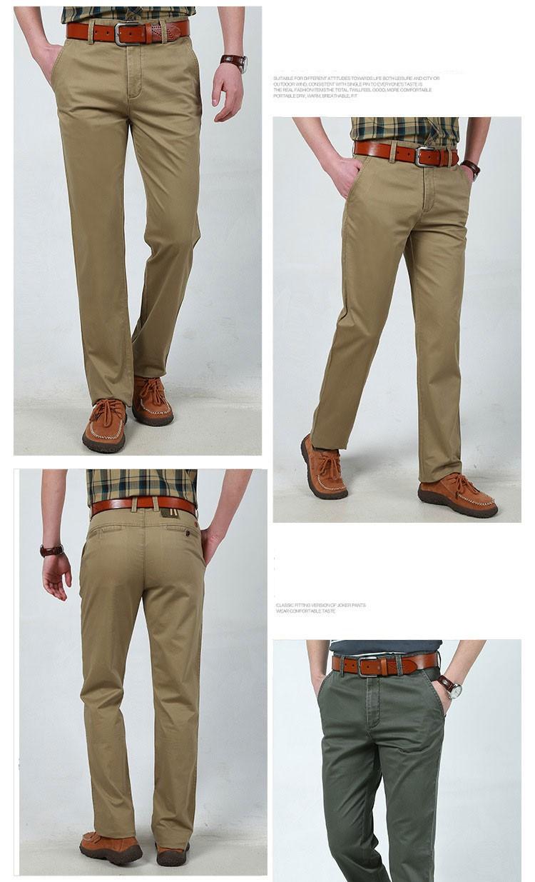 4 Colors 30-42 100% Cotton Fashion Joggers Men Casual Long Pants Men\'s Clothing Black Khaki Pants Trousers Autumn Summer Brand (5)