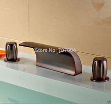 Wholesale And Retail Deck Mounted Waterfall Spout Basin Sink Faucet ORB Hot and Cold Water Mixer