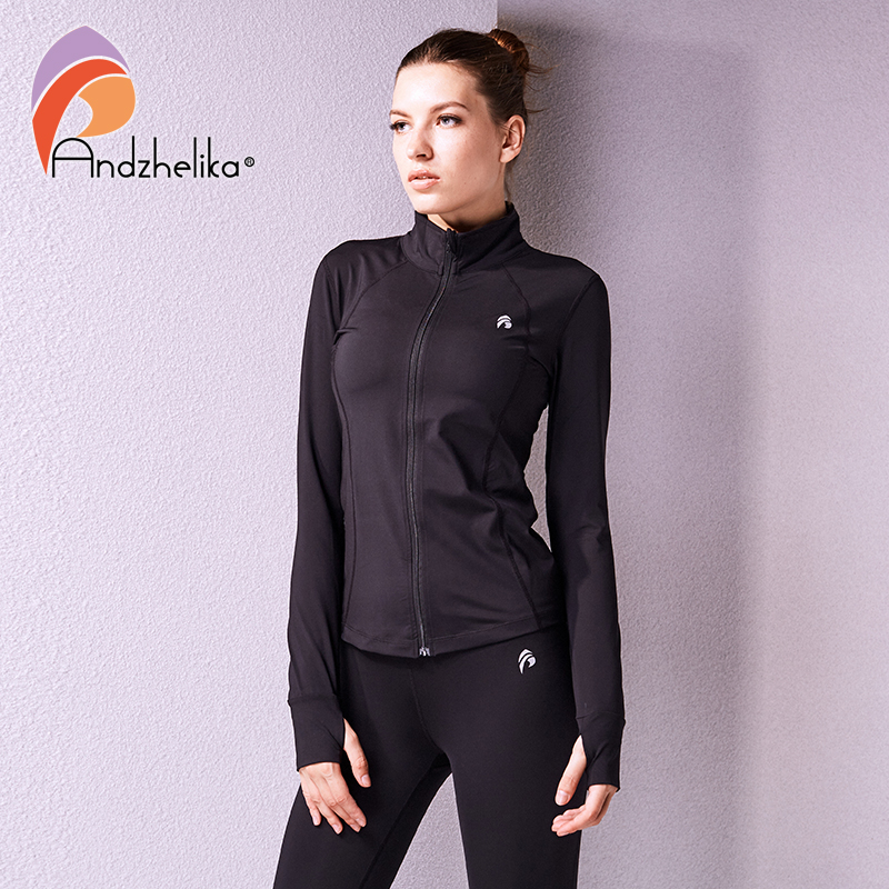 Andzhelika Women Running Jacket Quick Drying Zip Up Sweatshirts Fitness Tracksuits Training Outdoor Long Sleeve Camping Outerwea color block bird embroidered raglan sleeve zip up jacket