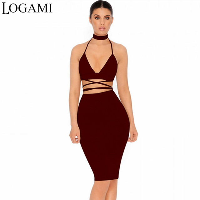 37786d82d0d LOGAMI 2 Piece Set Women Skirt Top Summer Autumn Midi Bodycon Dress Sexy  Two Piece Set Woman Skirt And Top Party Club Wear