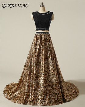 Two Pieces A-Line ScoopBeading Sequin Leopard Long Prom Dress  Black Lace Jacket Formal Evening Dress