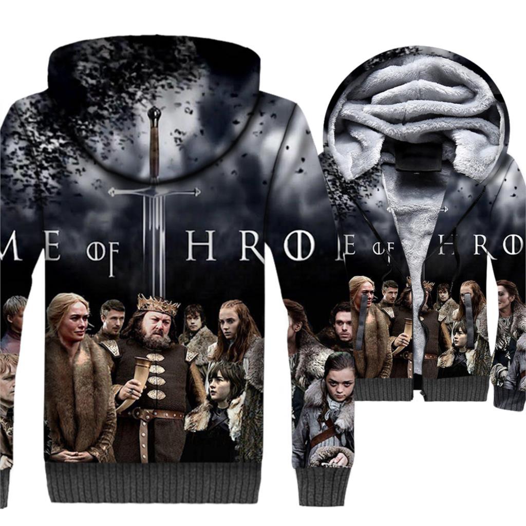 Game of Thrones Hoodie Men 3D Print Jackets House Stark Sweatshirt 2018 Winter Thick Fleece Warm Zipper Coat Hip Hop Streetwear
