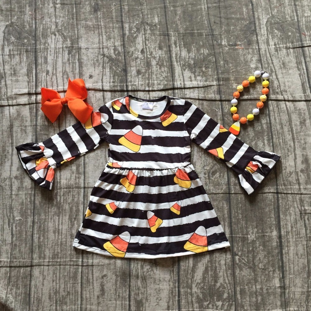baby girls Fall Halloween with candy corn dress baby girls Hallwoeen party dress Stripes dress long sleeve with accessories 2018 baby girls halloween skull bone dress halloween short sleeve dress halloween milk silk dress for party