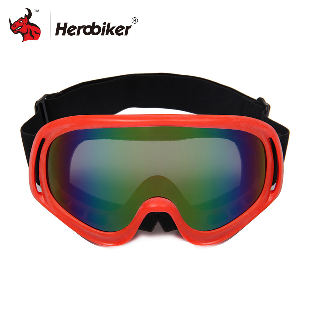 HEROBIKER Motorcycle Glasses Snowboarding Glasses Eyewear Motocross Goggles Cycling Eyewear Ski Lens Black/Red/Yellow/Blue