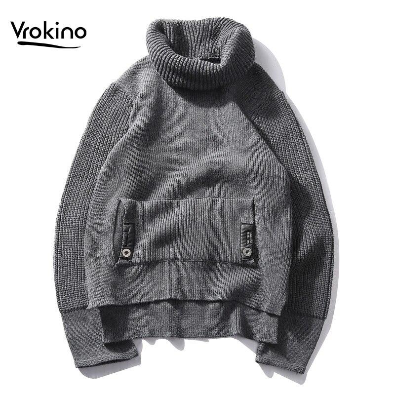 VROKINO Brand 2019 New Winter Men's Casual Pullover Fashion Soft Thick High Collar Sweater Men 3XL 4XL
