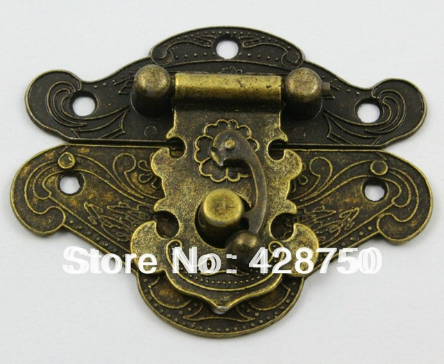 Antique Brass Jewelry Box Hasp Latch Lock 66x54mm with Screwsin