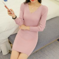 2017V Collar Dress Autumn New Korean Version Of The Sweater Slim Was Thin Women In The