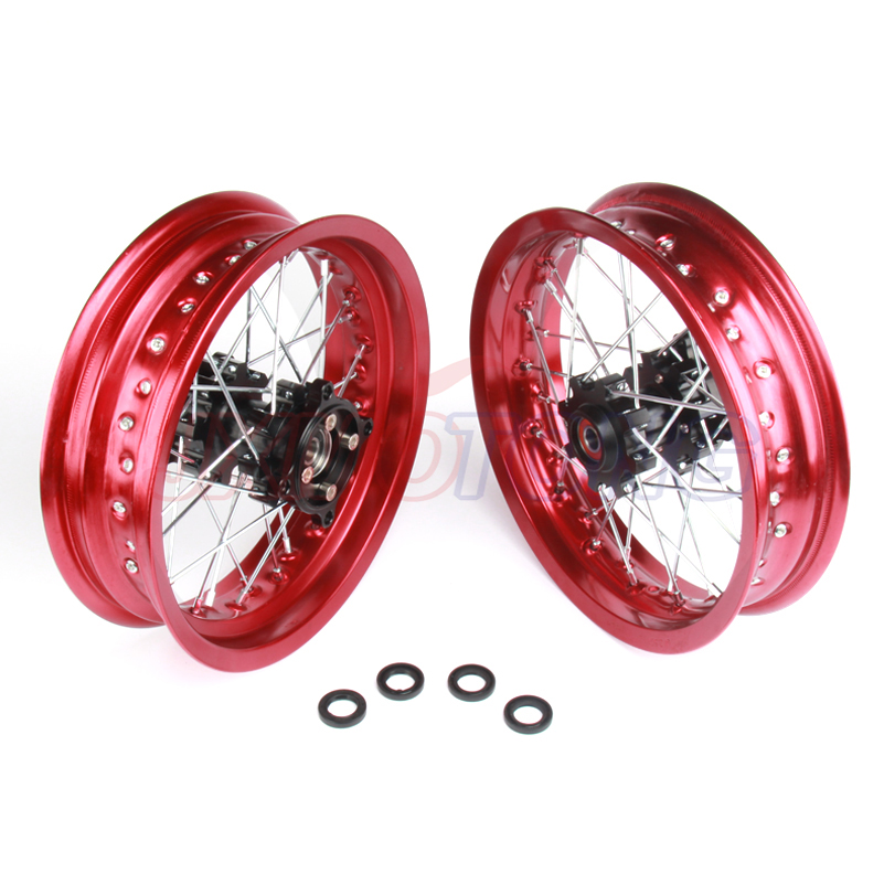 Pit bike jantes 12mm trou 3.00x12 pouces & 2.50-12 pouces avant et arrière roue CNC moyeu dirt bike CRF Kayo esb Apollo partie