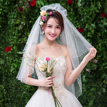 New Arrival Women One Layer Tulle Wedding Veil With Comb Bridal Veils for Bride Mariage Accessories Pearl Edge VE004