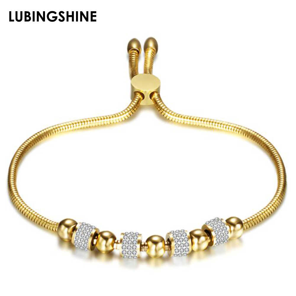 Luxury Stainless Steel Adjustable Bracelets Bangles Gold Silver Color Chains Bracelet Women Fashion Crystal Disco Ball Jewelry