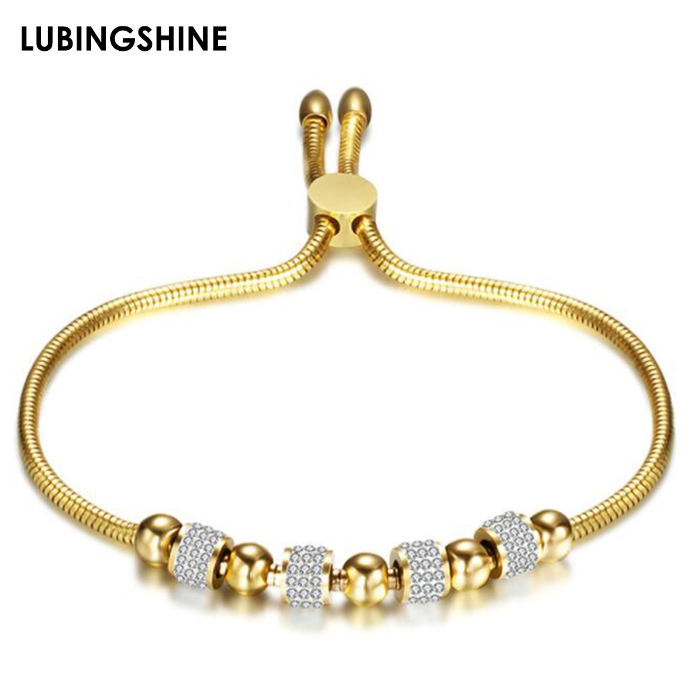 Luxury Stainless Steel Adjustable Bracelets Bangles Gold Silver Color Chains