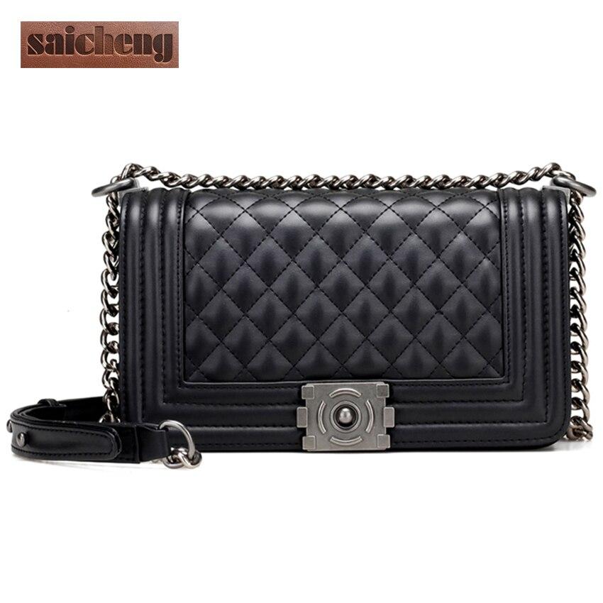 ФОТО Brand Genuine Leather Bag Women Diamond Lattic Small Crossbody Bags For Woman Elegant Flap Messenger Bag Lady Chain Sac A Main