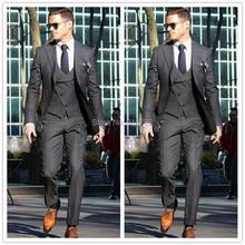 836bd93f9ad4e Özel Yapılmış 2017 Resmi Damat Giyim Suits Erkekler Smokin Koyu Gri  Gelinlik Erkekler 3 Parça Business