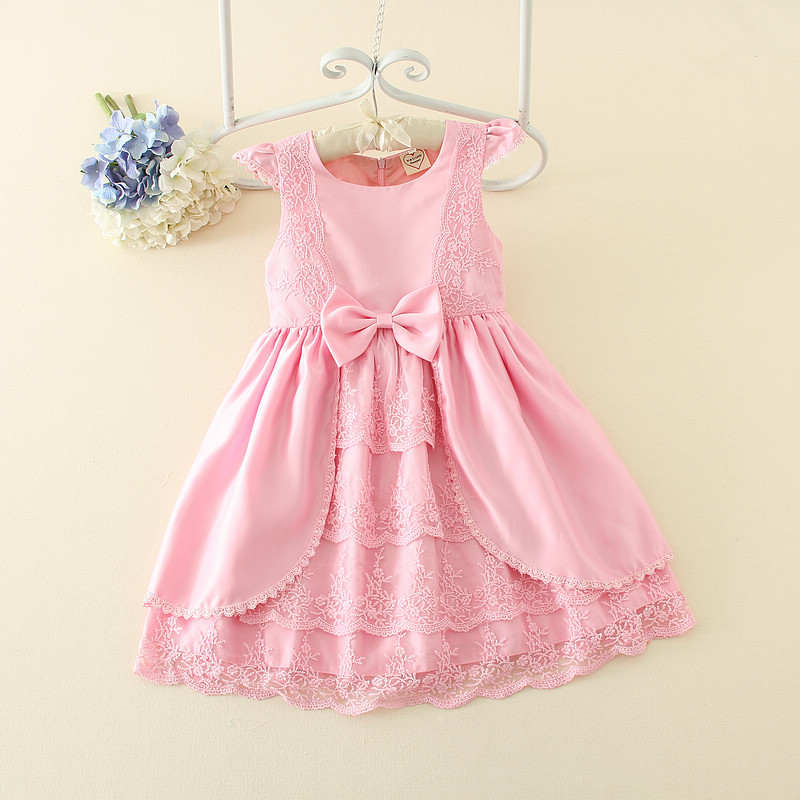 Hurave Baby Girl Bow Tie Printing Princess Dress Clothes Children Sleeveless Dress Kids Pure Color Wedding Dress For 5-10 Years summer baby girl s dress cloth cherry blossom korean version sleeveless vest dress princess bow tie vestido