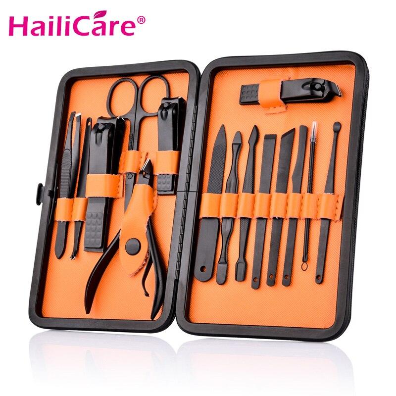 15 En 1 uña Clipper Kit con el caso de cuidado de uñas pedicura cortadores de tijera pinzas cuchillo profesional manicura herramientas