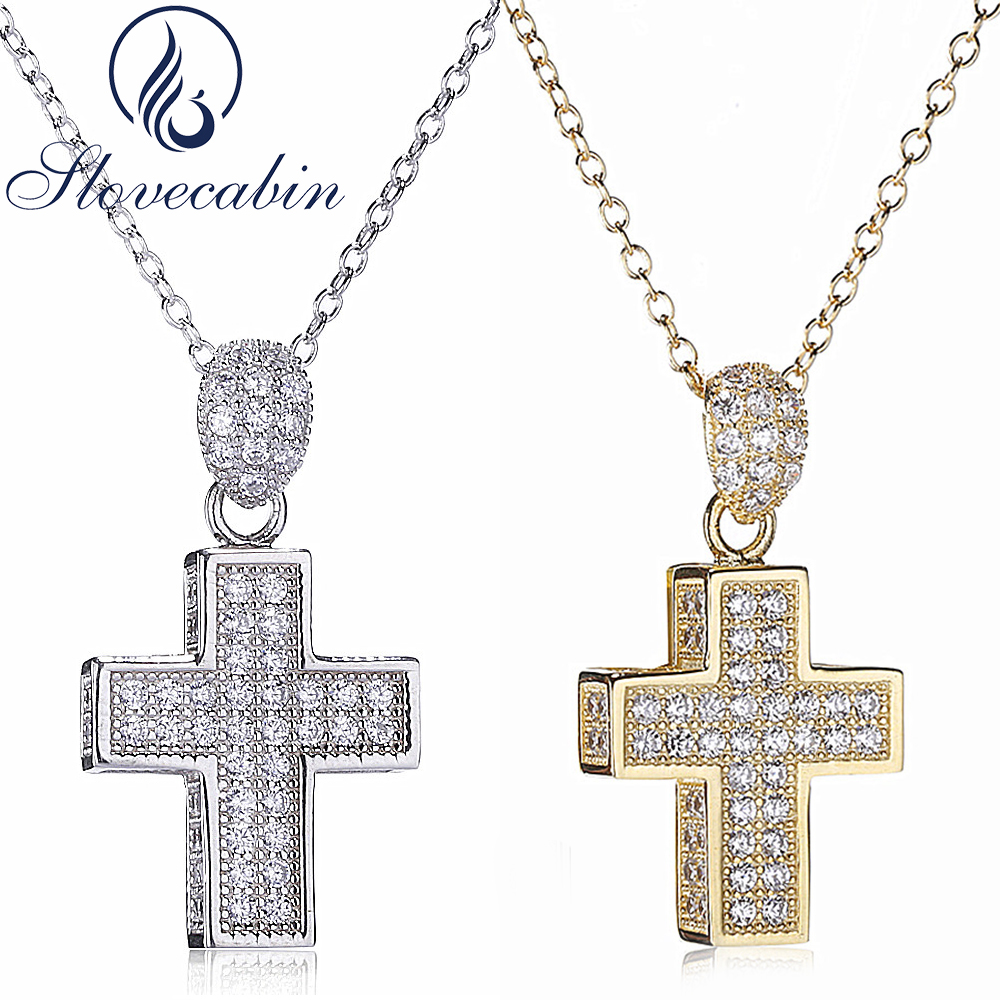 Slovecabin Real 100% 925 Sterling Silver Cross Pendant & Necklace For Women Thick Cross Pendant Necklace With AAA Zircon Fine