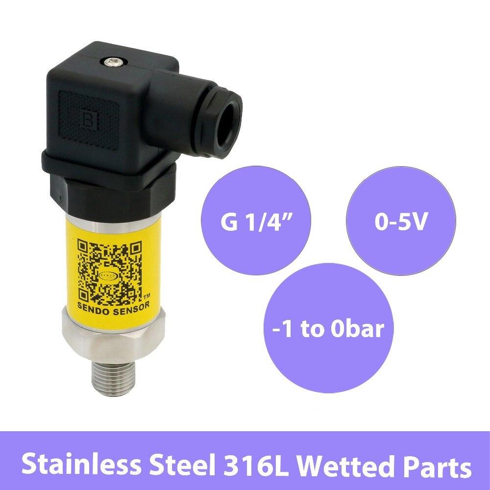 Industrielle-1 à 0 bar transmetteur de pression, capteur de pression négative 0 5 Volts sortie, 12 V 24 V 30 V DC puissance, g 1 4 transducteur