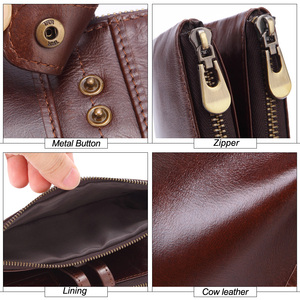 Image 5 - MISFITS 2019 yeni uzun cüzdan erkek hakiki deri debriyaj çanta kart tutucu para çantası kadın portemonnee fermuar çile telefon çantası