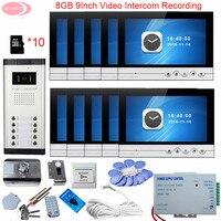 10 Units 9 Video Intercom With Recording Intercom 8GB TF Card Rfid Door Lock Doorbell Security