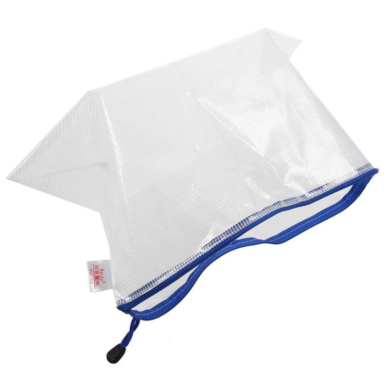 Bai Ju Grid Zipper File Bag Office Bag Student Stationery Bag, B4 38*28cm White (zipper Random Color)
