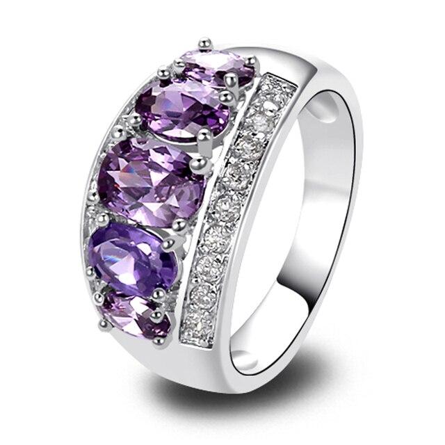 Casamento AAA CZ de roxo ametista 18 K banhado a ouro 7 moda jóias atacado frete grátis