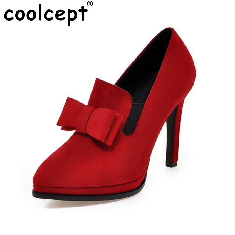 Size 34-43 New High Heels Shoes Women Pumps Bowtie Sexy Pointed Toe Shoes Thin Heels Slip-On Soft Pumps Sweet Fashion Footwear 7 colors new sexy women pumps shoes high heels tacon alto bride wedding zapatos mujer pointed toe sweet bowtie women shoes
