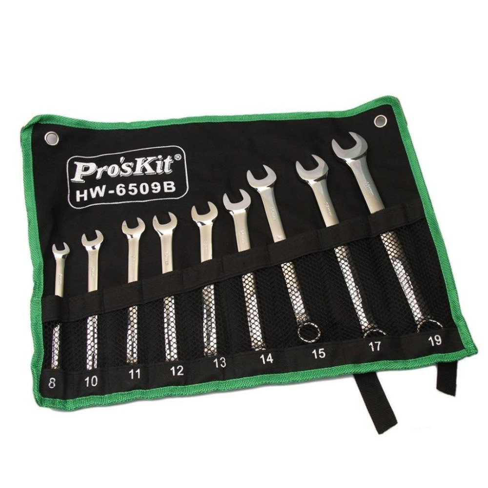 Pro'sKit 9PCS Combination Wrench(Metric) HW-6509B chrome vanadium steel ratchet combination spanner wrench 9mm