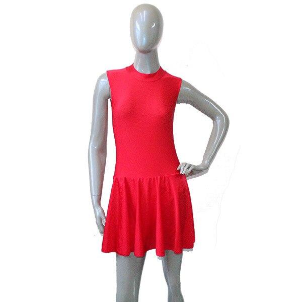 Dansçının Seçimler Kırmızı Naylon/Lycra Kolsuz Fermuar Geri ile Yüksek Boyun Leotard Elbise Eğitim Kız için Giyim ve bayanlar