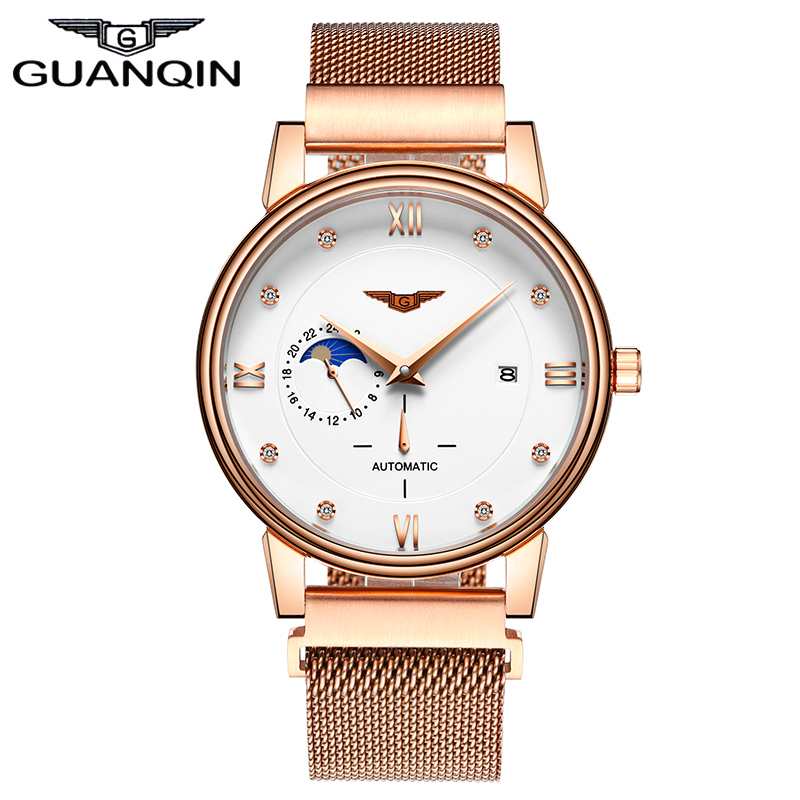 GUANQIN GJ16039 Original Brand Watch Luxury Men Automatic Mechanical Watches Mens Fashion Stainless Steel Strap Gold Wristwatch mce top brand mens watches automatic men watch luxury stainless steel wristwatches male clock montre with box 335