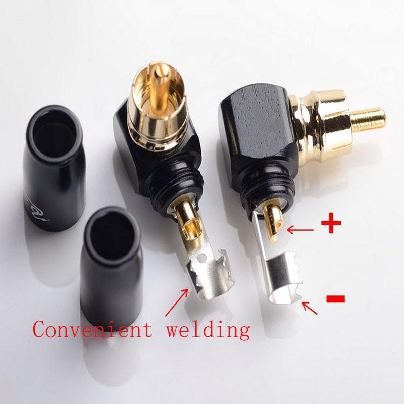 4pcs Bent Lotus 399 Plug 90 Degree Elbow AV RCA Plug Audio Right Angle Lotus Plug