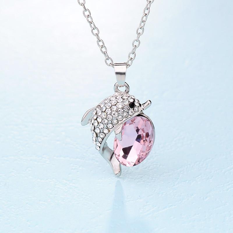 Новое поступление модные Цепочки и ожерелья Jewelry красивый Дельфин Украшенные стразами Подвески для Для женщин кулон Бесплатная доставка