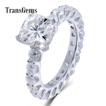 TransGems 2 Carat Cushion cut Lab Grown Moissanite Diamond Wedding Engagement Band for Brilliant Solid 14K White Gold Women Ring недорого