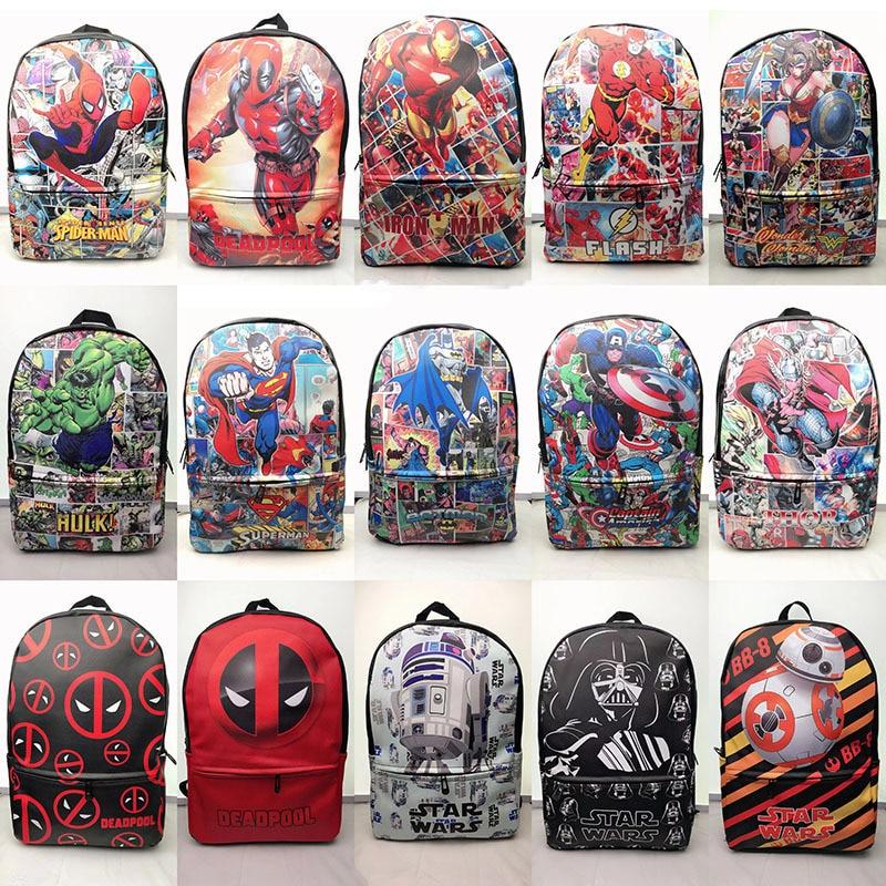 Hot Marvel Deadpool Backpack Cowhide Student Bag School Bag New