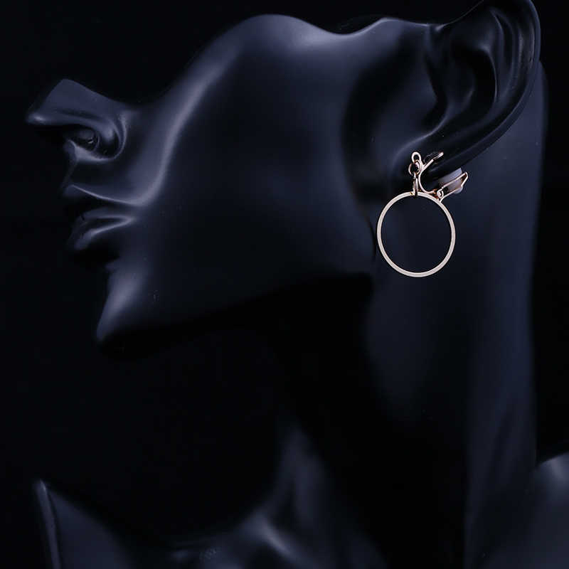 Geometris Bulat Klip Anting-Anting Tidak Ada Tindik Telinga Klip Trendi Warna Emas Logam Anting-Anting untuk Wanita Fashion Minimalis Perhiasan CE20