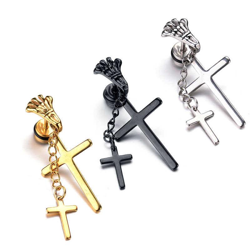 Śmieszne Punk stóp krzyż kolczyki europejski styl złoty srebrny czarny łańcuch dynda spadek kolczyki dla kobiet mężczyzn Party prezent biżuteria