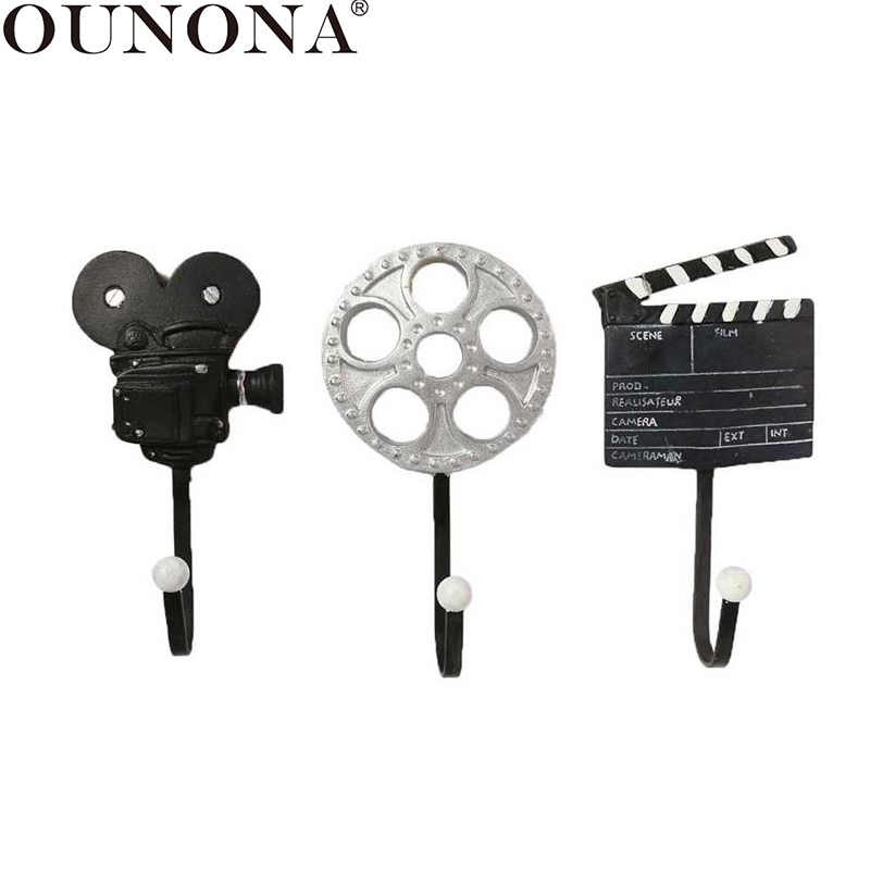 OUNONA 3pcs Wall Decorative Hook Vintage Movie Wall Mounted Hooks Coat Wall Hanger Key Decorative Hooks For Home Decoration