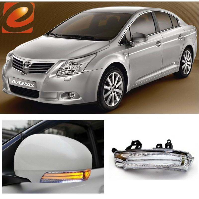 eeMrke For Toyota Avensis 2009-2013 Side Rear View Mirror Lights LED DRL Turn Signals Irradiated Ground Lights eemrke for toyota voxy 2007 2008 2009 2010 2011 2012 2013 side rear view mirror lights led drl turn signals