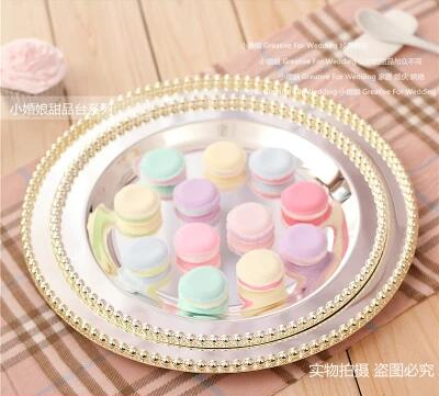D 25cm/ 30cm silver plated round cake pan with Beaded around wedding cake stand cake display rack for wedding decoration DGP056-in Storage Trays from Home ... & D 25cm/ 30cm silver plated round cake pan with Beaded around wedding ...