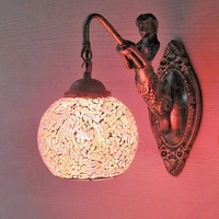 Mosaic Glass Resin Wall Sconce Creative Mermaid LED Wall Light Fixtures For Bedroom Wall Lamp Home