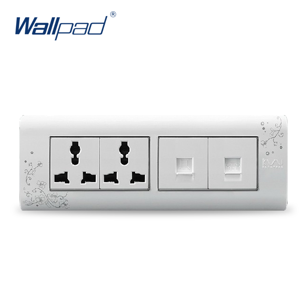 2018 Hot Sale TEL And Computer 6 Pin Socket Wallpad Luxury Wall Switch Panel Outlet Socket 197*72mm 10A 110~250V стоимость
