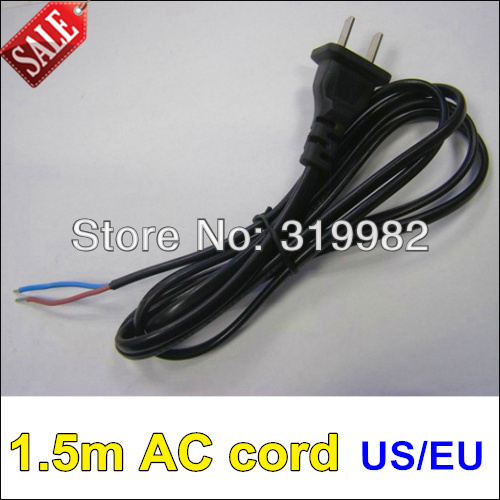 3pcs/lot, 1.5m AC power cord, US/EU plug cord, two wire power cord ...