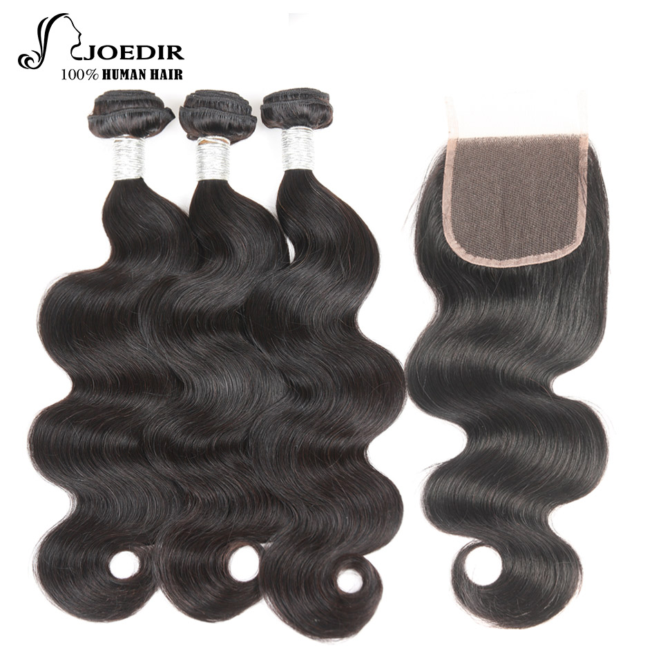 Joedir Indian Human Hair Bundles Med Closure Non Remy Body Wave 3 - Skønhed forsyning - Foto 2