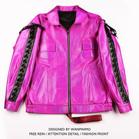 Fashionable men's fur coat WANPINIMO male singer nightclub DJ mei hong fantasy China has hip hop loose leather jacket