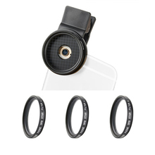 ZOMEi 37mm Clip On 3 in 1 Professional Mobile Phone Camera Star Cross Twinkle Filters Lens Kit 4 Points + 6 Points and 8 Points