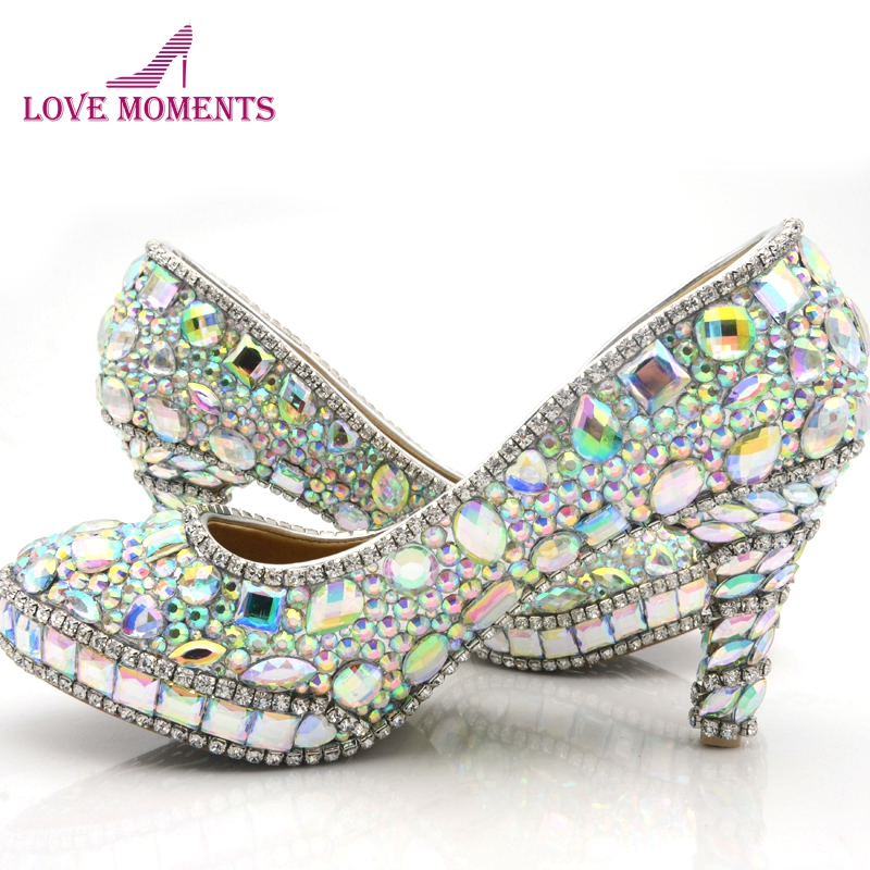 2018 Sparkling AB Color Crystal Wedding Shoes 3 Inch High Heel Graduation Prom  Shoes Homecoming Party 6de10d189e3b