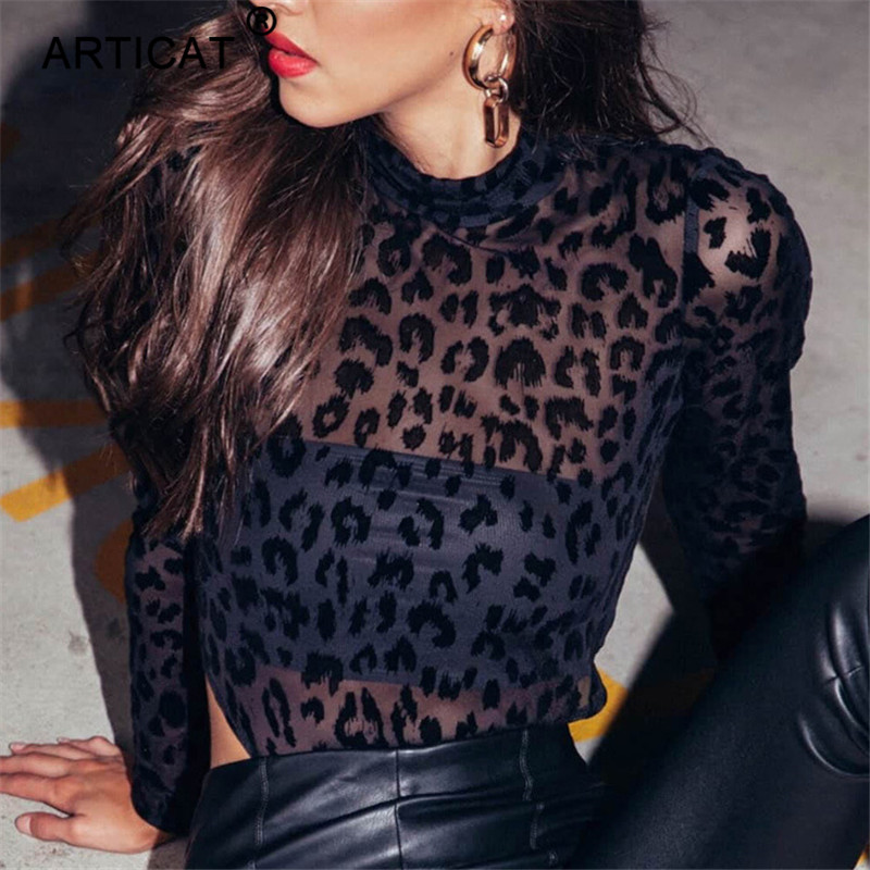 Articat Long Sleeve Sexy Transparent Lace Bodysuit Women High Neck Bodycon Hollow Out Overalls for Women Playsuit Body Feminino