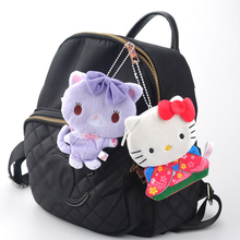 1pc new cute Cartoon Hello Kitty cute cat Plush Purse toy Coin Bag Cute Kids Wallet Kawaii Keychain Bag for Children Gift(China)