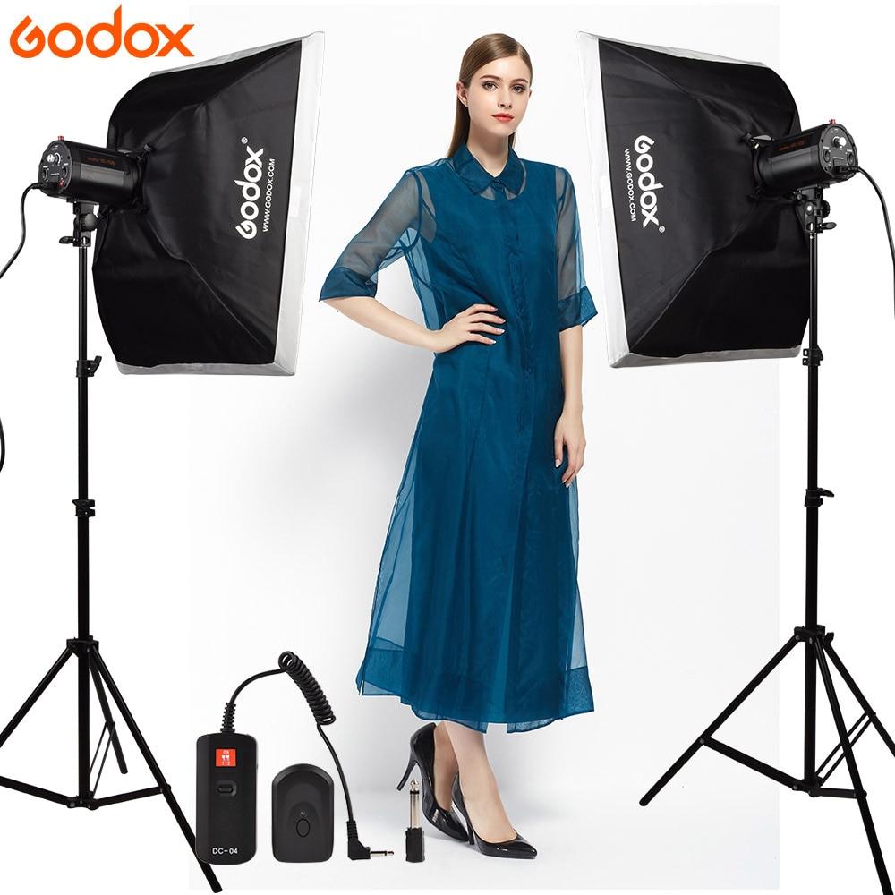 GODOX 2*120Ws 120DI Pro Photography Studio Strobe Flash Light + Light Stand + Softbox 50*70cm + DC-04 Flash trigger Studio Kit godox rt 04 4 channel remote studio flash trigger set