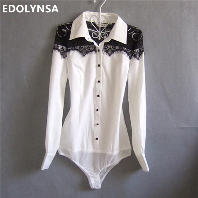 Brand Shirt Blouse Women Chiffon Bodysuit Long Sleeve Formal Shirts Female Tunic White Body Blouses With Lace Tops Plus Size