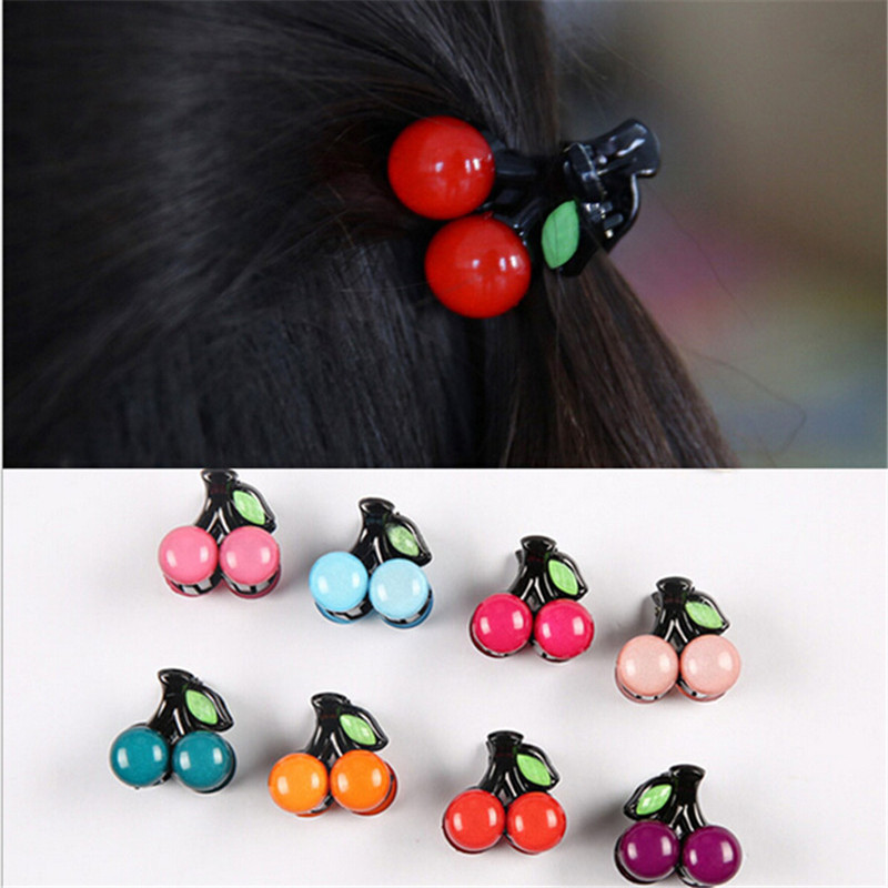 Korean Headwear Cute Hairclip For Women Girls Cherry Mini Hair Claws Fashion Hair Accessories Princess Headdress 1 Pair women headwear 2017 retro hair claw cute hair clip for girls show room vitnage hair accessories for women